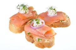 Barretta-alimento con i salmoni Immagini Stock Libere da Diritti