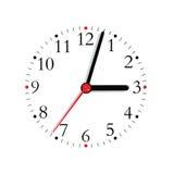 Barretta rossa di orologio del fronte del nero Analogue della manopola isolata Fotografie Stock Libere da Diritti