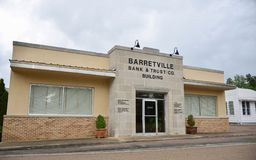 Barretville Bank and Trust, Barretville, TN. Barretville Bank and Trust provides credit cards, mortgages, commercial banking, auto loans, investing royalty free stock photography