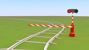 barriären stänger järnvägen Arkivbilder