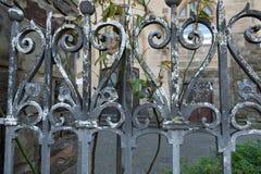 Barrière antique de fer avec la croissance image stock