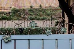 Barrière avec des raisins en métal et des feuilles de vigne Photos libres de droits