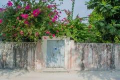 Barrière avec l'entrée à la cour de la maison vivante à l'île tropicale Photos libres de droits