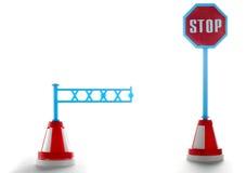 Barrière avec le signe de route d'arrêt Photo stock