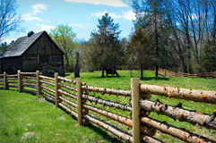 Barrière Barn Cow de rondin Photographie stock