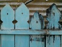 Barrière bleue en bois Photographie stock