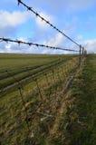 Barrière de barbelé le long des champs de pré Image libre de droits