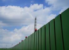 Barrière de construction et poteau électrique Image libre de droits