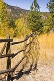Barrière de rail en bois dans des couleurs d'automne Photos stock