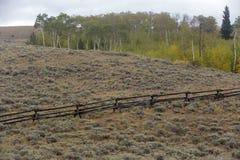 Barrière de rail sur le flanc de coteau du Wyoming Photographie stock libre de droits