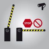 Barrière de vecteur avec la came et les signes eps10 illustration stock