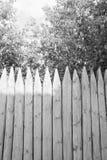 Barrière des rondins et des arbres noirs et blancs Photo stock