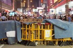 Barrière en affiche op Nathan-weg, een straat het blokkeren demonstratie in 2014 Stock Foto's