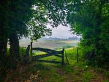 Barrière en bois avec un pré d'herbe verte au fond Camino De Santiago Primitivo photo libre de droits