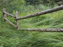 Barrière en bois dans la forêt Photos stock