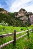 Barrière en bois de canyon de Glenwood dans le Colorado Photos libres de droits