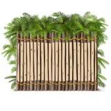 Barrière en bois de vecteur avec la paume Photographie stock libre de droits