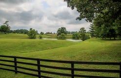 Barrière en bois le long de l'herbe et des nuages Image stock