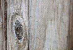 Barrière en bois Plank avec le noeud sur la gauche - pêchée avec la profondeur Photographie stock libre de droits