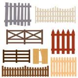 Barrière en bois Set de couleur de bande dessinée Vecteur Image stock