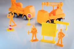 Barrière en construction et signage vide pour l'espace de copie Image stock