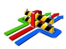 Barrière en pijlen. vector illustratie