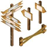 Barrière, enseignes en bois, signe de flèche Image libre de droits