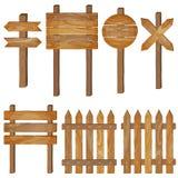 Barrière, enseignes en bois, signe de flèche illustration stock