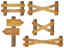 Barrière, enseignes en bois, signe de flèche Photos stock