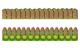 Barrière et herbe en bois, illustration de vecteur Images stock