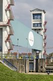 Barrière néerlandaise de montée subite de tempête image stock