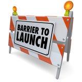 Barrière om Barricade van de Waarschuwingsbordwegenbouw te lanceren Stock Foto