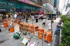 Barrière op Nathan-weg, een straat het blokkeren demonstratie in 2014, Royalty-vrije Stock Foto's