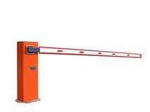 Barrière orange fermée d'entrée, personne, signe d'arrêt, Illustration Stock