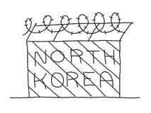 Barrière tirée par la main avec le barbelé Le blocus de la Corée du Nord encadre le pays communiste Illustration tirée par la mai Photos libres de droits