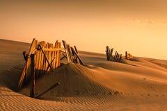 Barrières dans le sable Photos stock
