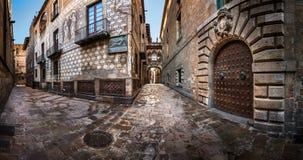Barri叹气哥特式处所和桥梁在巴塞罗那,卡塔龙尼亚 图库摄影