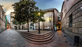 Barri Gothic Quarter and Bridge of Sighs in Barcelona Royalty Free Stock Photo