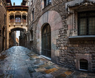 Barri Gothic Quarter and Bridge of Sighs in Barcelona, Catalonia Stock Images