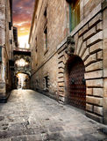 Barri Gothic Quarter and Bridge of Sighs in Barcelona, Catalonia Royalty Free Stock Images