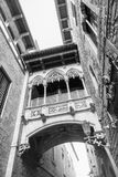Barri gothic quarter and bridge of sighs Stock Photos