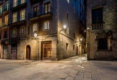 Barri Gotic przy nocą fotografia stock