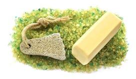 Barri il fondo di verde giallo variopinto b dei grandi cristalli del sale Fotografie Stock