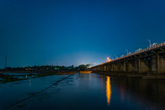 Barriage and a beautiful night. Sir arthur cotton barriage over river godavari seen under full moon Stock Image