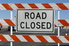 Barricada cerrada del camino Fotografía de archivo