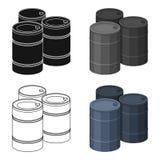 Barricada de barriles vacíos Solo icono de Paintball en web del ejemplo de la acción del símbolo del vector del estilo de la hist Foto de archivo