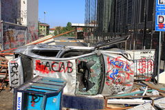 Barricada de la calle fotografía de archivo libre de regalías