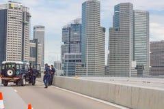 Barricada de la policía de Singapur Fotos de archivo