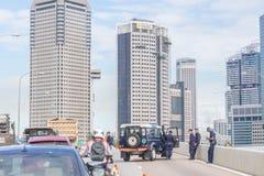 Barricada de la policía de Singapur Imagenes de archivo
