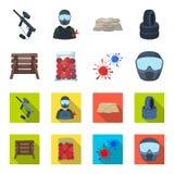 Barricada de madera, máscara protectora y otros accesorios Solo icono de Paintball en la historieta, acción plana del símbolo del stock de ilustración